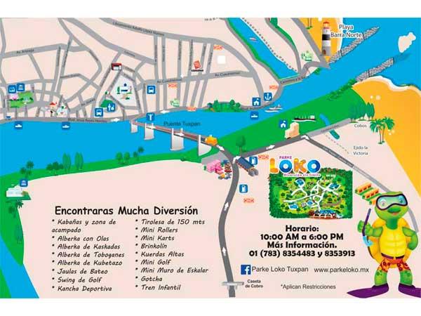 Mapa turístico del parque loko en Tuxpan