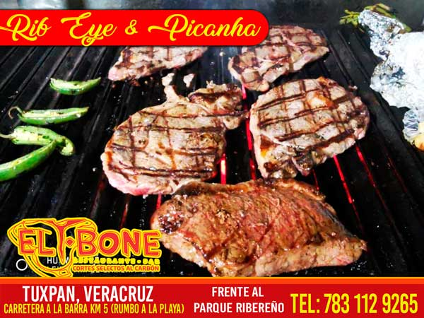 Corte carne Rib-Eye y Picaña del restaurante T-Bone en Tuxpan, Veracruz