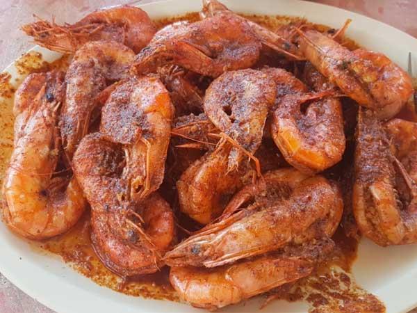 Camarones enchipotlados del restaurante Mar de Plata en Tuxpan