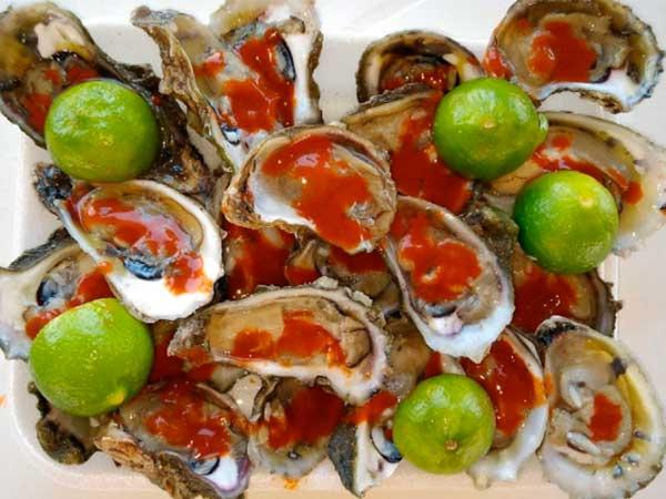 Deliciosas ostiones en su concha del Restaurante Mar de Plata en la playa de Tuxpan, Veracruz 2