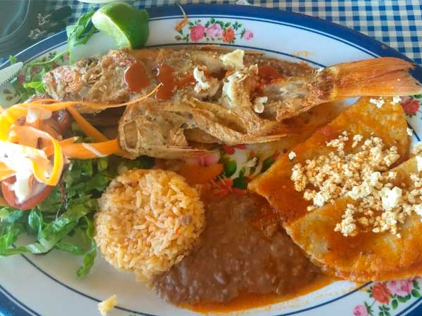 Pescado con enchiladas del Restaurante Mar de Plata en la playa de Tuxpan, Veracruz
