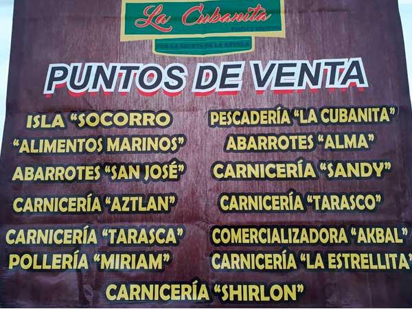 Puntos de venta de las Salsas la Cubanita en Tuxpan, Veracruz.